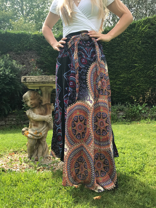 Bohotusk Black Brown Tulum Stripe Long Skirt With Coconut Buckle (& Strapless Dress)