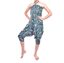 Load image into Gallery viewer, Bohotusk Green Elephant Print Jump Suit 2 in 1 Low Drop Crotch Harem Pants Design Small / Medium (UK Size 8 - 12)