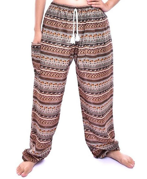 Bohotusk Girls Brown Chill Stripe Drawstring Waist Harem Pants (6 - 8 Years)