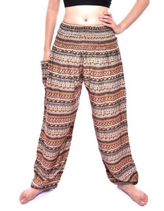 Bohotusk Brown Chill Stripe Print Womens Harem Pants Tie Waist