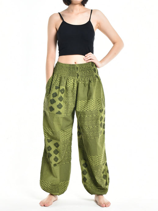 Bohotusk Womens Autumn Green Lunar Cotton Harem Pants S/M to L/XL