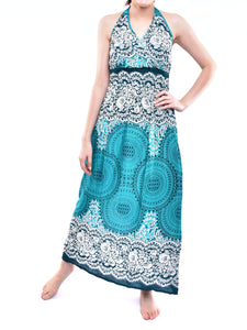 Bohotusk Teal Sun Glow Print Tie Neck Maxi Dress