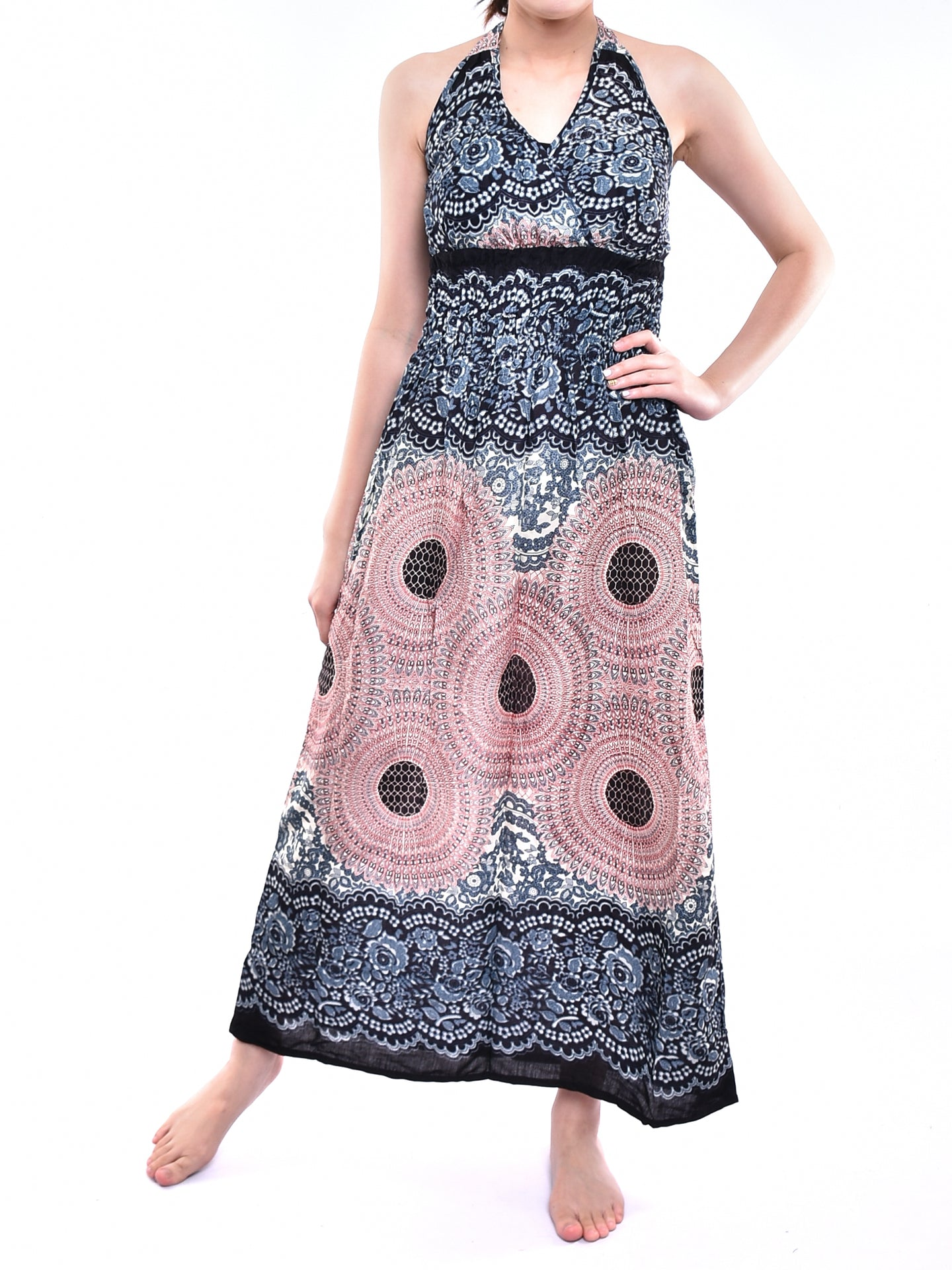 Bohotusk Light Pink & White Sun Glow Print Tie Neck Maxi Dress