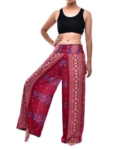 Bohotusk Dark Red Peacock Print Womens Palazzo Pants S/M (UK 8 - 12)