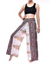 Load image into Gallery viewer, Bohotusk White Peacock Print Womens Palazzo Pants S/M (UK 8 - 12)