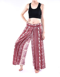 Bohotusk Red Elephant Herd Print Palazzo Trousers S/M (UK 8 - 12)
