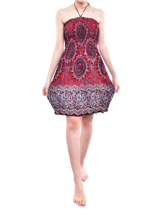 Bohotusk Red Sun Glow Print Short Mini Dress With Tie Neck