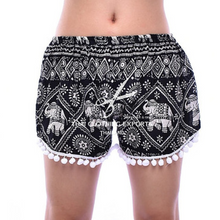 Load image into Gallery viewer, Bohotusk Tassled Black White Elephant Print Harem Shorts