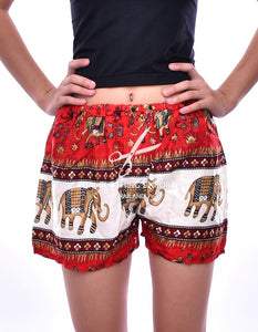 Bohotusk Red Thani Print Harem Shorts
