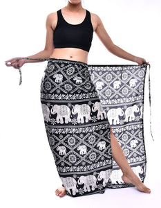 Bohotusk Black Elephant Plain Sarong Super Soft 220cm x 102cm