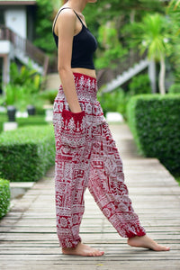 Bohotusk Red Forest Print Elasticated Smocked Waist Womens Harem Pants S/M