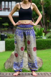 Bohotusk Blue Garden Swirl Print Elasticated Smocked Waist Womens Harem Pants S/M