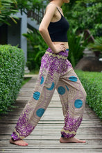 Load image into Gallery viewer, Bohotusk Purple Garden Swirl Print Elasticated Smocked Waist Womens Harem Pants S/M to 3XL