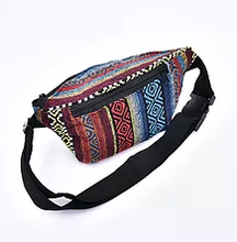 Load image into Gallery viewer, Bohotusk Royal Stripe Cotton Bum Bag Fanny Pack Waist Travel Bag