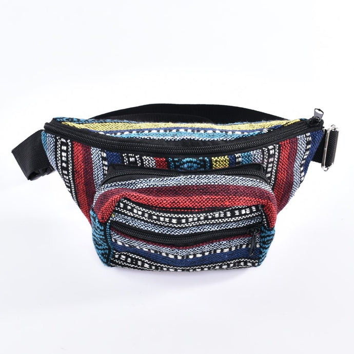 Bohotusk Royal Stripe Cotton Bum Bag Fanny Pack Waist Travel Bag