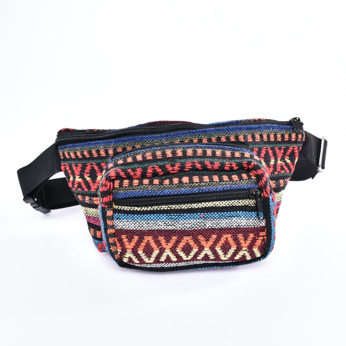 Bohotusk Criss Cross Print Cotton Bum Bag Fanny Pack Waist Travel Bag