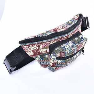 Bohotusk Elephant Print Cotton Bum Bag Fanny Pack Waist Travel Bag