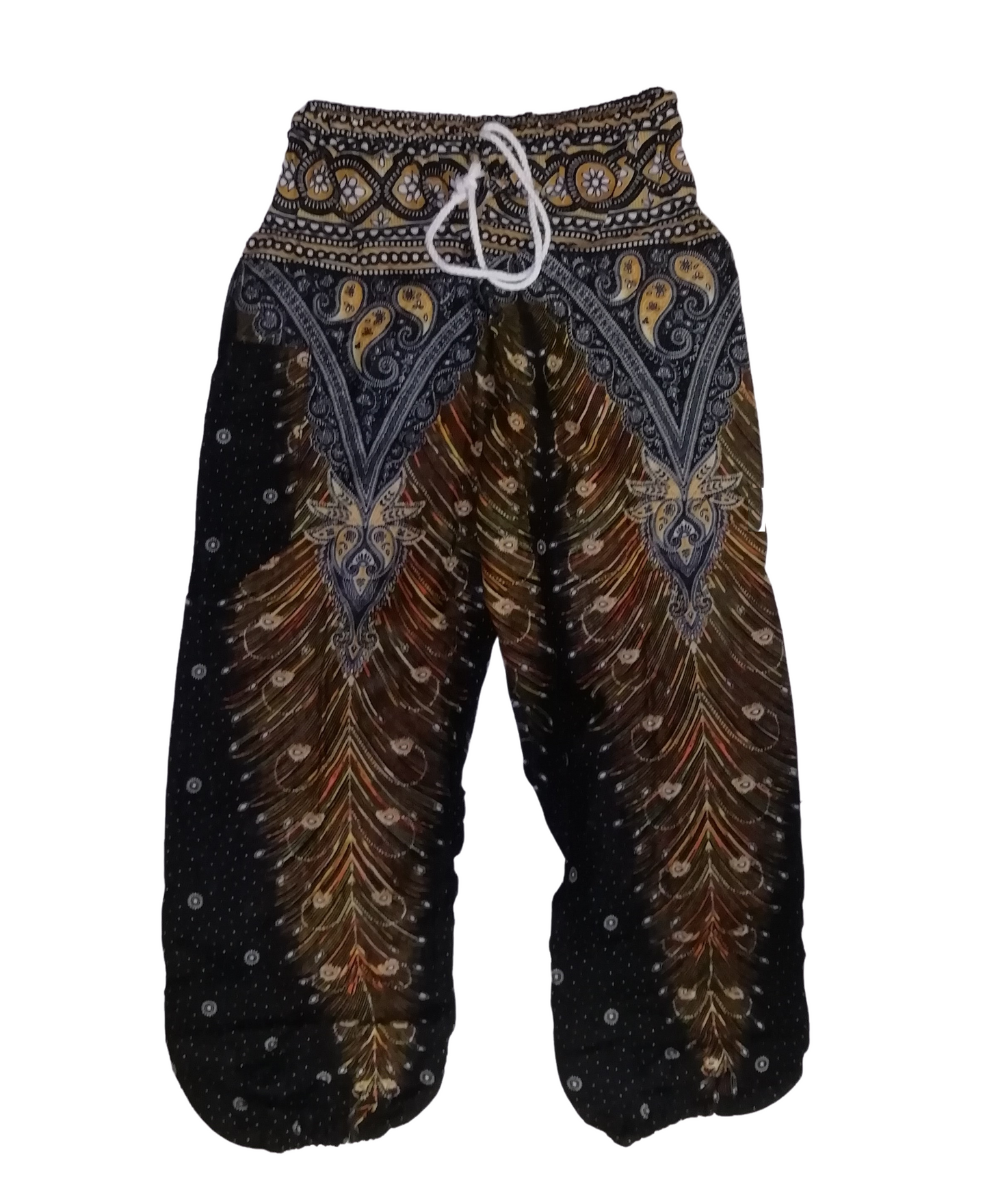 Bohotusk Black Gold Peacock Print Drawstring Waist Harem Pants (6 - 8 Years)