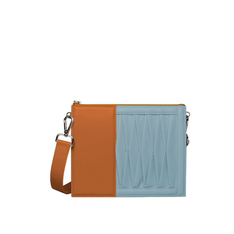 10014 Infinity Power Shoulder: Camel and Sky Blue Lambskin