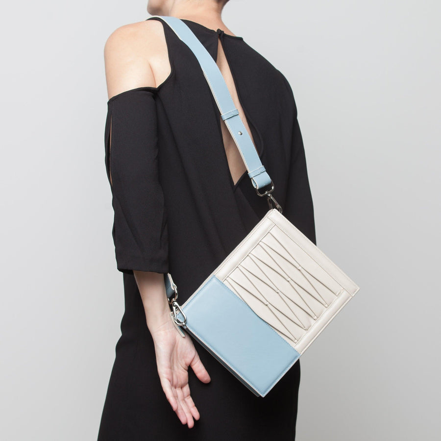 10014 Infinity Power Shoulder: Sky blue/Cream Lambskin