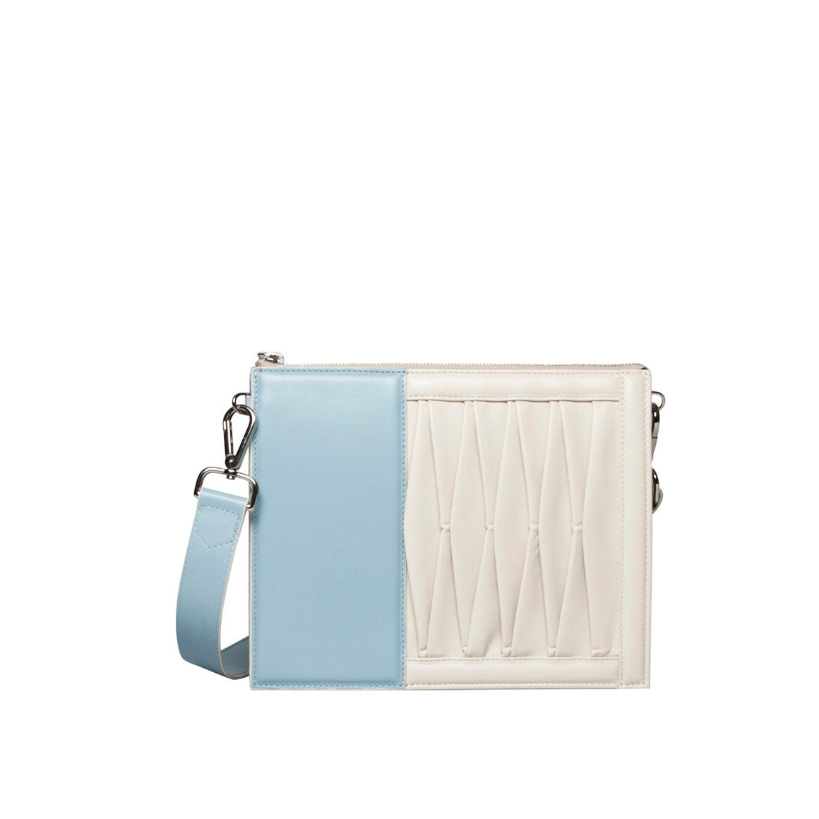 10014 Infinity Power Shoulder: Sky blue/Off-white Lambskin