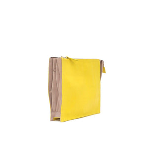 10018 Infinity Power Clutch: Yellow and Beige Calfskin - Sabrina Zeng