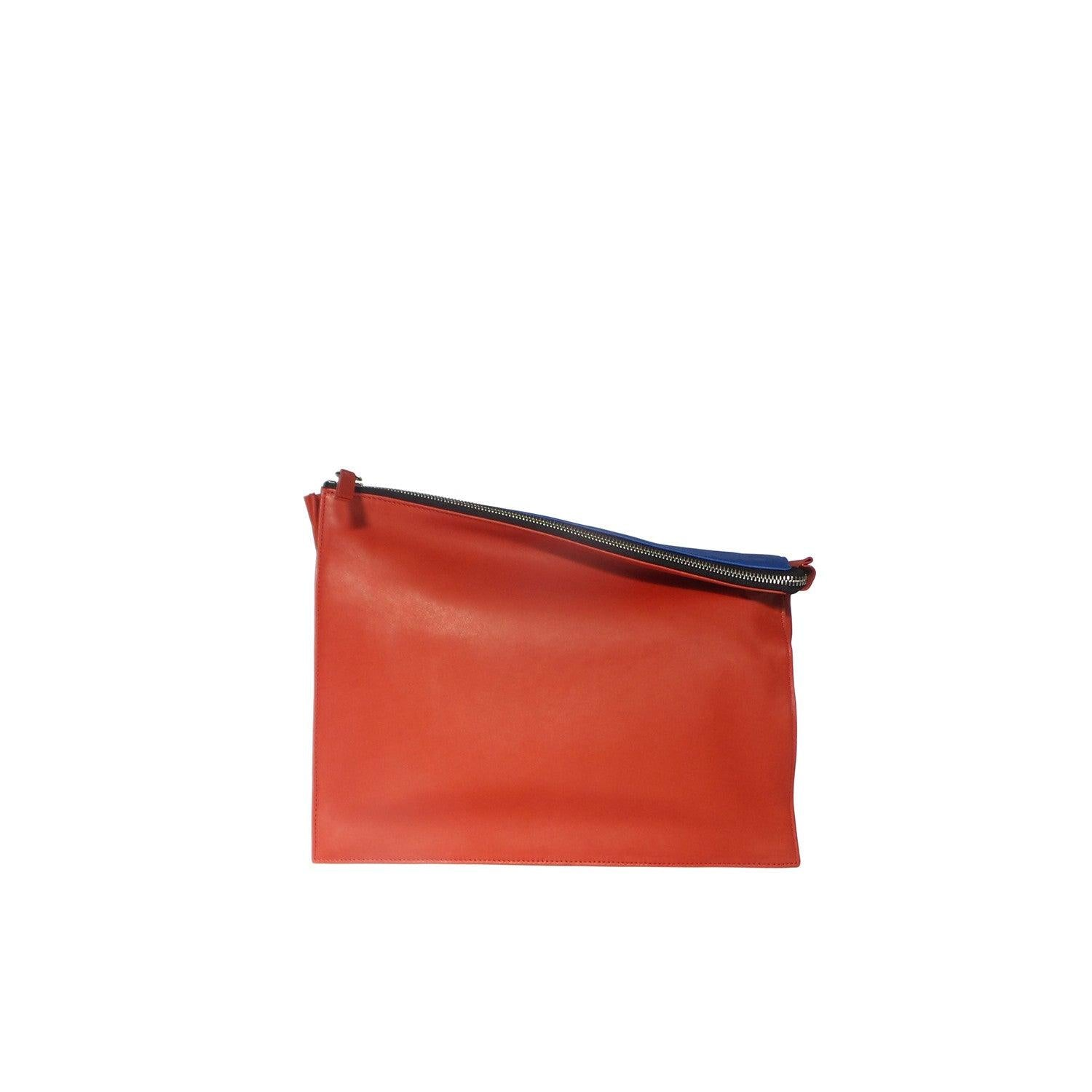 10018 Infinity Power Clutch: Red and Blue Leather