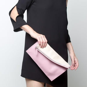 10018 Infinity Power Clutch: Rose and Beige Leather