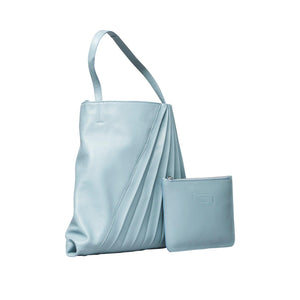860100 Chiaroscuro Weekend Tote Small: Sky Blue Lambskin