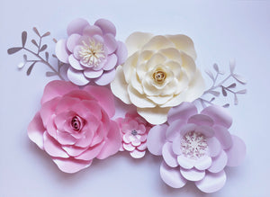 Paper Flower Wall Decor, Set of 5, Nursery/Bedroom Decor