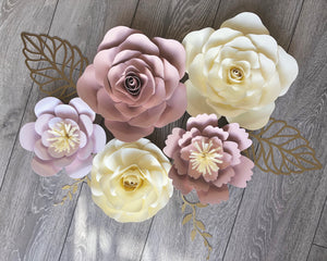 Paper flower nursery wall decor, 5 piece floral arrangement