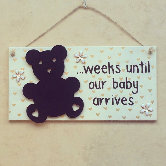 Weeks until our Baby arrives Countdown Plaque