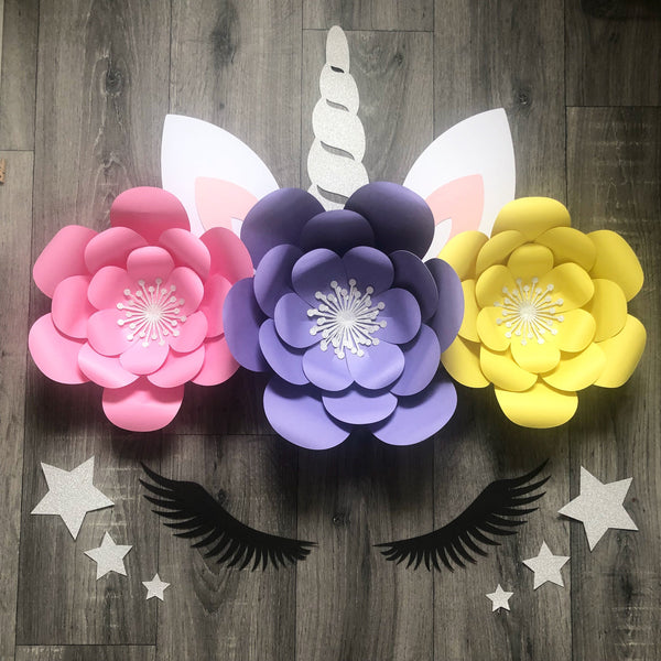 Unicorn Flowers Backdrop, Wall, Party Decor