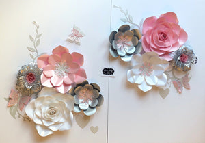 Baby Pink Silver And White Paper Flower Set Bedroom Wall