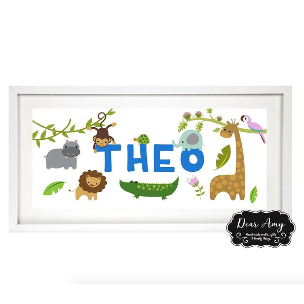 Name Animal Frame Print