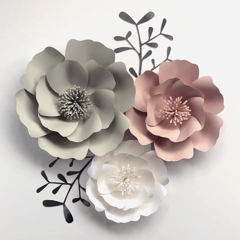 Set of 3 pretty petal style flowers