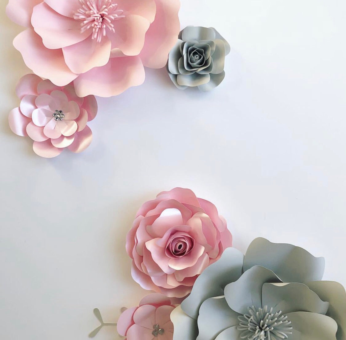 Set Of 6 Paper Flowers Wall Decor Nursery Bedroom Floral Piece