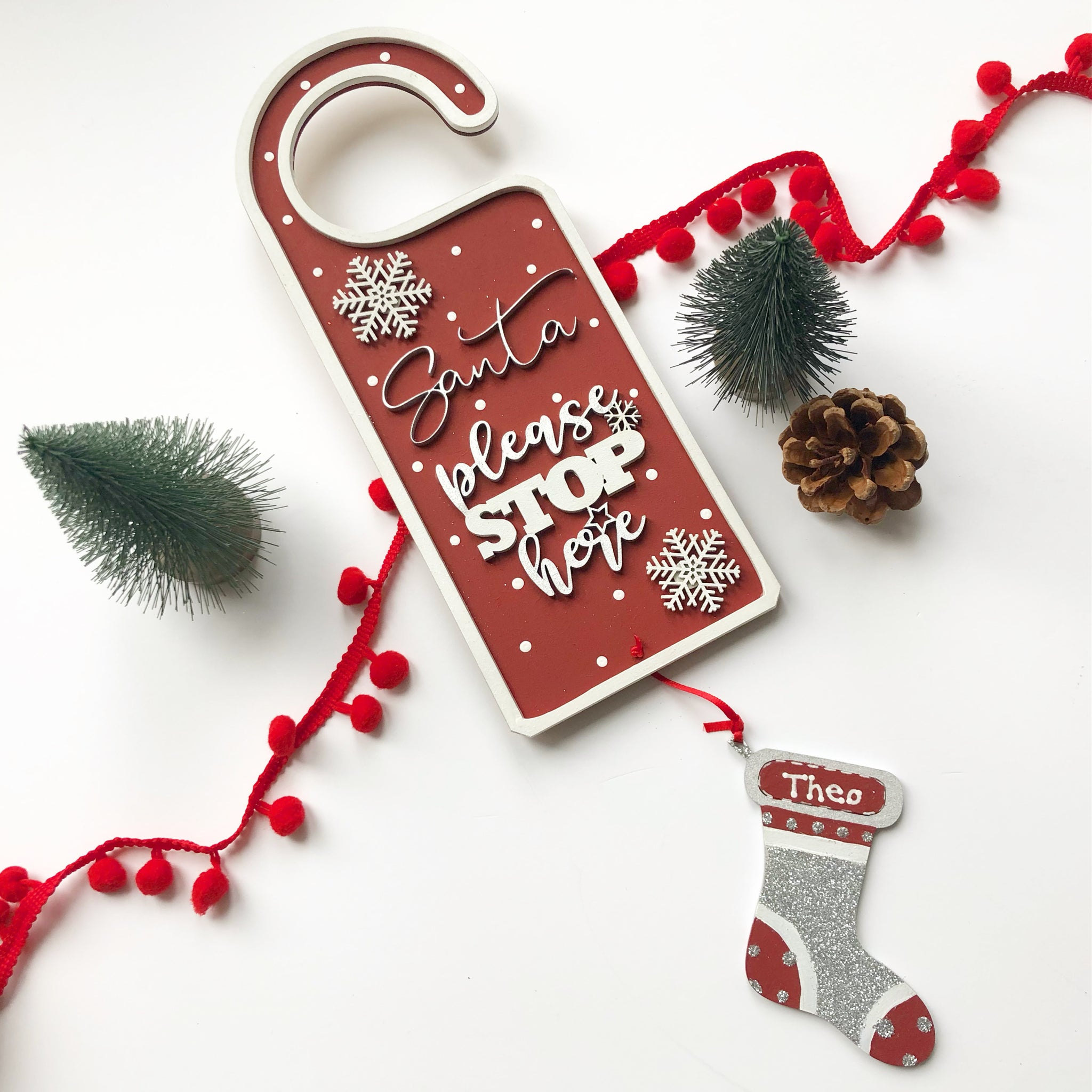 Santa Please Stop Here Door Hanger Red Dotty