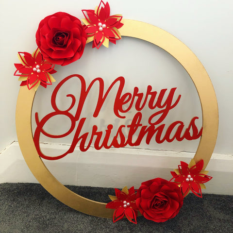 Christmas Paper Flower Wreath
