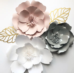 3 piece paper flower set (Various Colours)