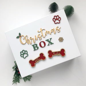 Christmas Doggie Box Personalised Magnetic Opening wooden Name