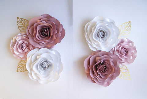 6 Rose Pinks Paper Flower set large. Inc leaves