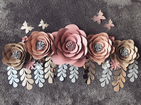 Large wall flower set (Available in many Colours)