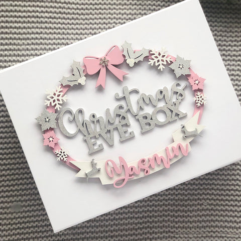 Christmas Eve Box Personalised Magnetic Opening wooden Name