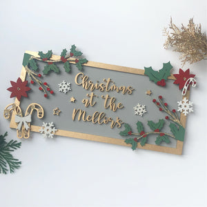 Personalised Family Christmas Plaque (various colour schemes available)