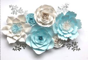 Baby Blue Paper Flower wall decor