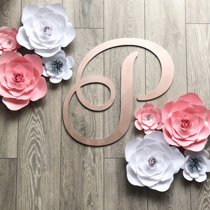 Coral Rose and Flower Paper Wall Decor