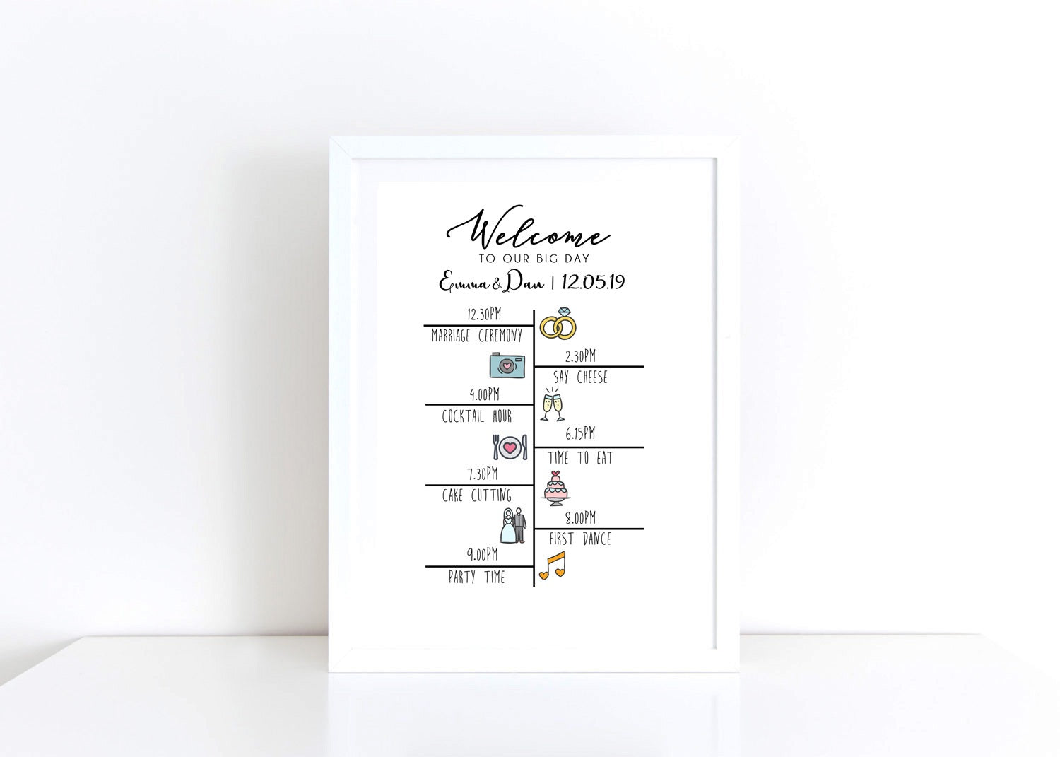 Wedding Timeline Personalised Print