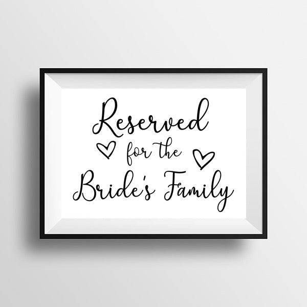 Reserved for the Bride's side - Wedding Print