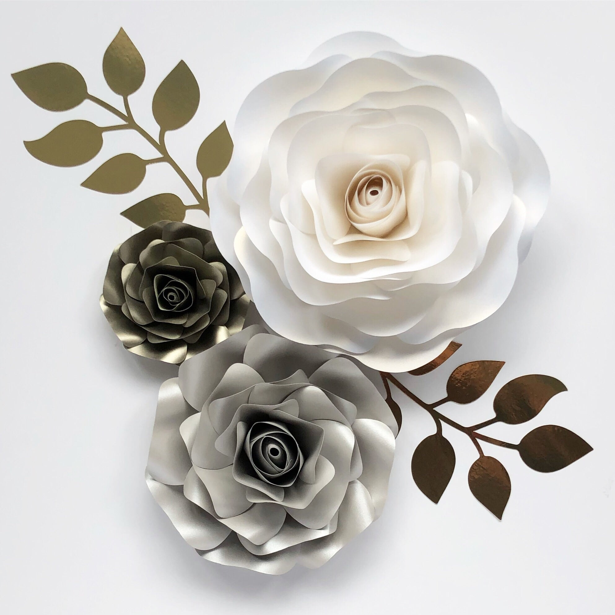 Ellie paper rose flower wall decor 3 piece with leaves, nursery decor, bedroom wall art